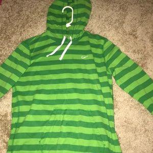 Nike green striped hoodie